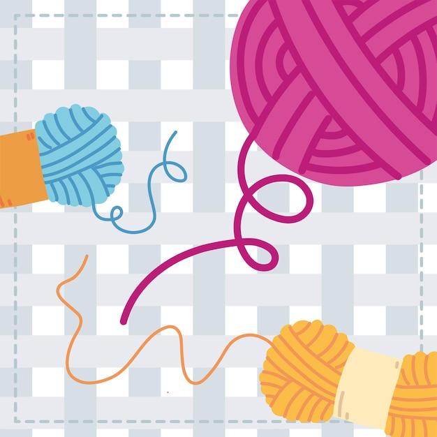 Knitting wools rolls