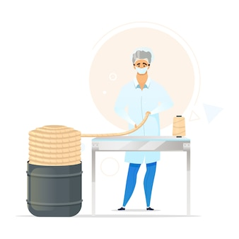 Knitting yarn production process flat color illustration. male worker in laboratory. manufacturing facility. ropemaking. factory employee. isolated cartoon character on white background