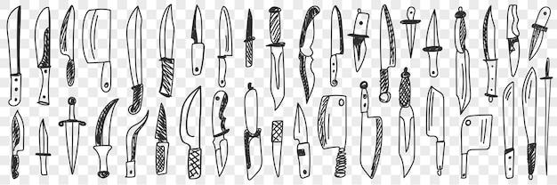 Набор ножей каракули