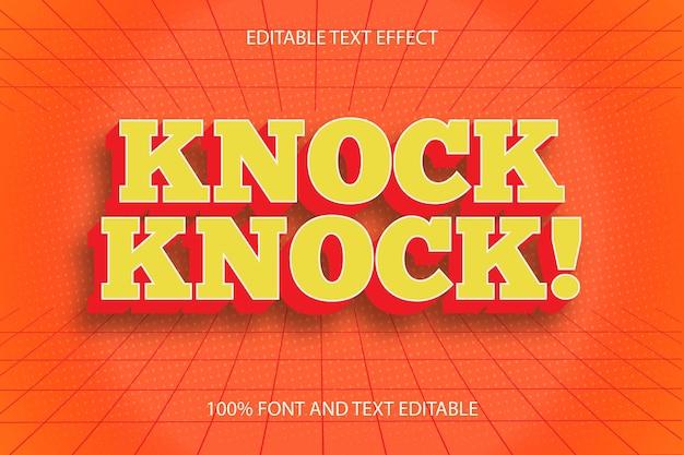 Тук-тук! редактируемый текстовый эффект тиснения в винтажном стиле