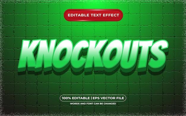 Нокауты, редактируемый текстовый эффект, мультяшный и игровой стиль