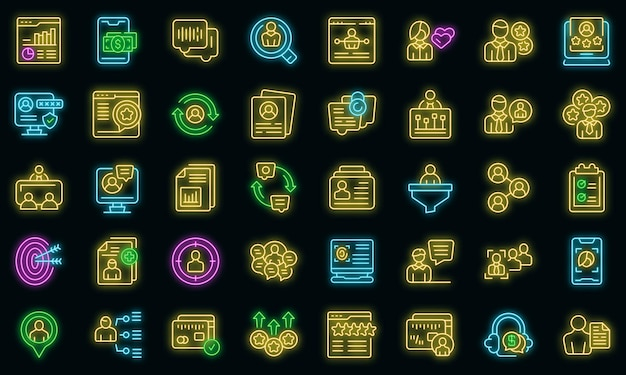 Know your client icons set outline vector. card cms data. customer digital business