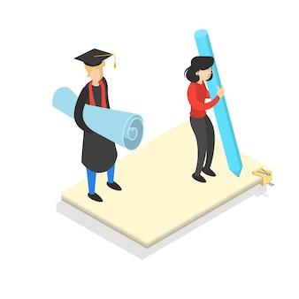 지식과 교육 개념. 대학에서 온라인 학습