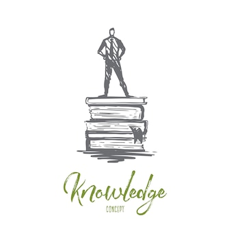 Knowledge, book, education, information, learn concept. hand drawn man standing on books concept sketch.