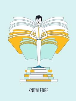 지식 개념: 평평한 선 스타일의 책 더미에 서 있는 사업가