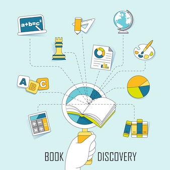 Knowledge concept: discovery knowledge in the book in line style