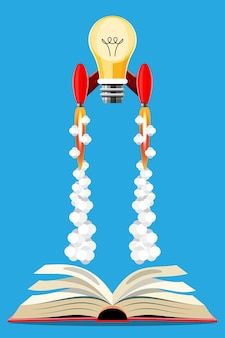 Idea di concetto di conoscenza. illustrazione del fumetto libro del modulo di lancio del razzo di idea. illustrazione in stile 3d