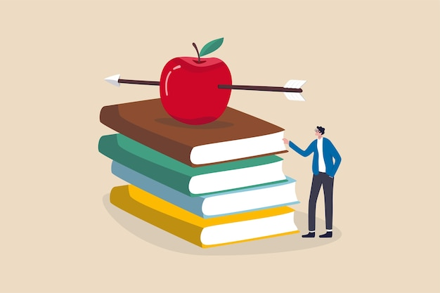知識、教育、学術および奨学金の概念、賢い教師または教授が授業を教えるのを待っています