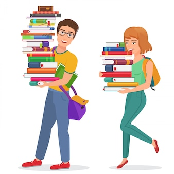 Knowledge education illustration with guy and girl students carrying large stack of books. man woman student carrying books