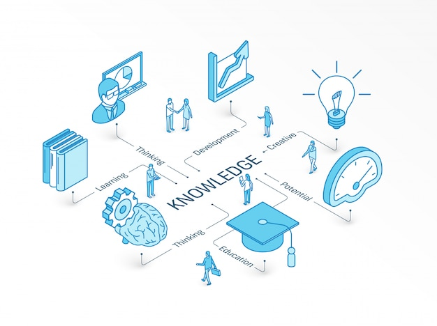 Knowledge isometric concept. integrated infographic system. people teamwork. education, creative thinking, teaching symbol. development, learning potential, library pictogram