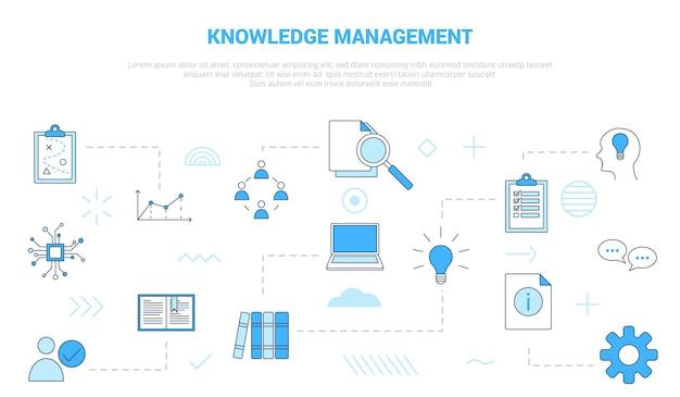 Концепция управления знаниями с набором иконок, шаблон баннера с современной синей цветовой стилистической векторной иллюстрацией