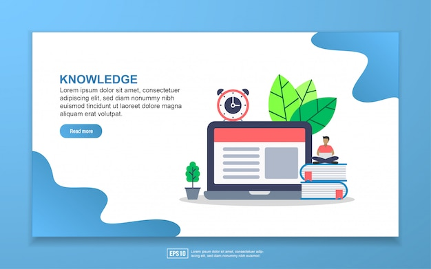 Knowledge with tiny people character landing page