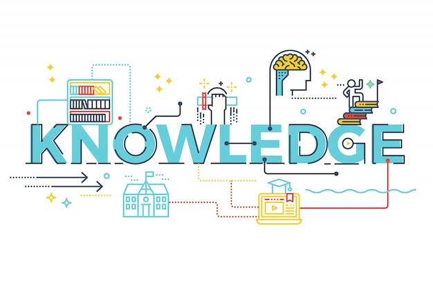 Knowledge word lettering typography design illustration with line icons