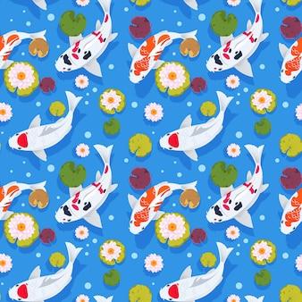 Ko魚のシームレスなパターン。中国の庭のjapanese。東洋の自然の背景。アジアの壁紙