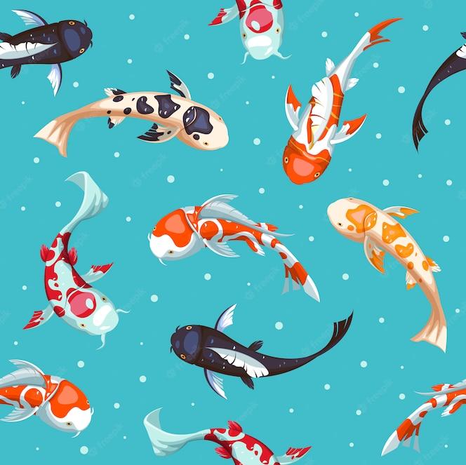 魚のシームレスなパターン。金ko柄の壁紙デザイン。日本の魚のイラスト。