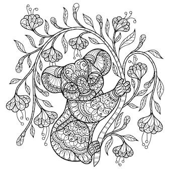 コアラと花。大人の塗り絵の手描きスケッチイラスト。
