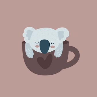Koala bear and cup with heart