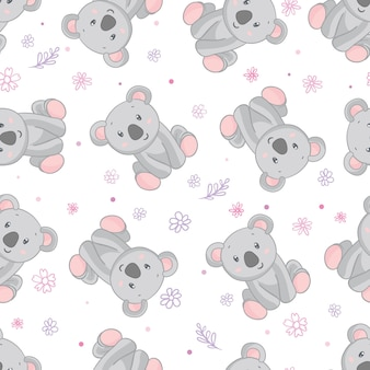 Koala bear pattern. seamless pattern pink background.
