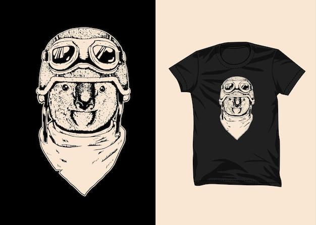 Коала байкерский шлем иллюстрация дизайн футболки