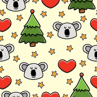 Koala cartoon doodle seamless pattern