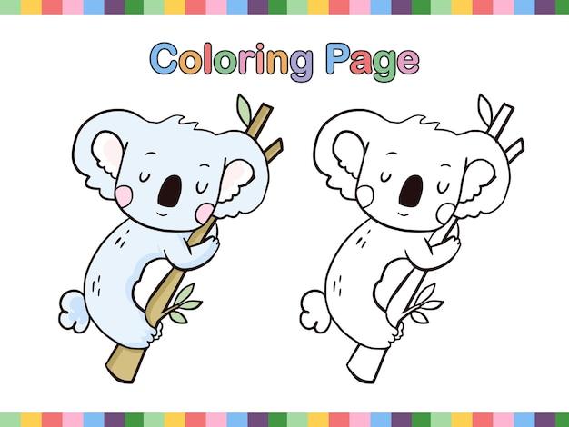 아이들을위한 코알라 만화 라인 아트 색칠 공부 페이지