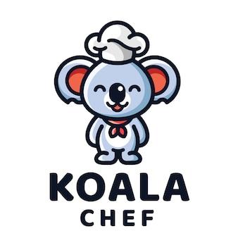 Шаблон логотипа шеф-повар коала
