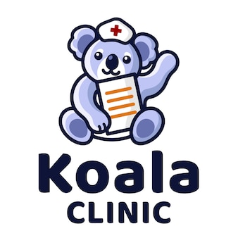 Koala clinic cute kids logo template