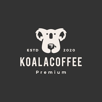 Koala coffee  vintage logo  icon illustration