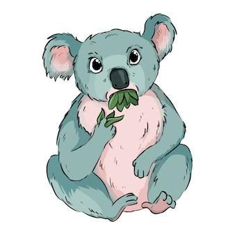 코알라 먹는 유칼립투스 만화 낙서. 귀여운 코알라 동물 씹는 나뭇잎 어린이를위한 만화 스타일 그리기. 재고 이미지 프리미엄 벡터