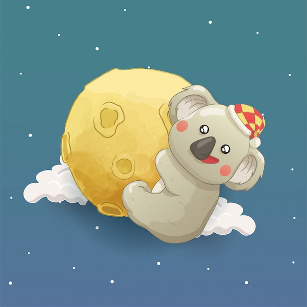 Koala hanging the moon