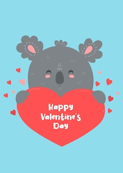 Коала держит сердце. валентинка.