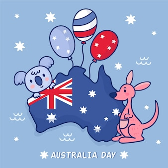 Koala and kangaroo friends with balloons on australia map