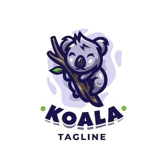 Koala logo design template with cute details