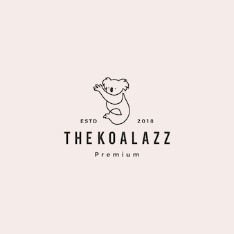 Koala logo vector icon line outline illustration