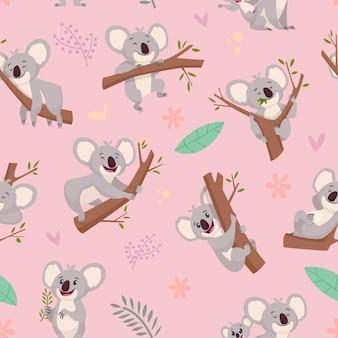 コアラ柄。テキスタイルデザインプロジェクトのシームレスな漫画の背景のためのオーストラリアの野生のかわいい動物コアラのイラスト。