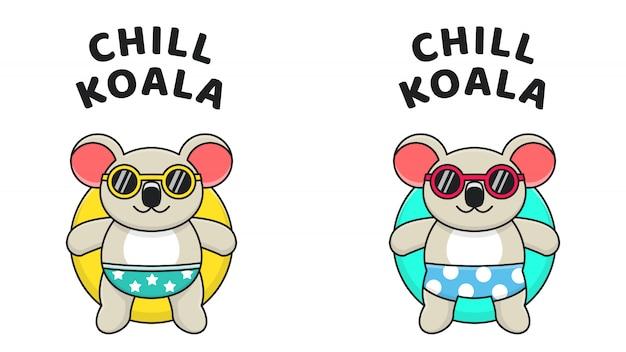 Koala relax and chill on swim ring