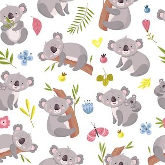 Koala seamless pattern.