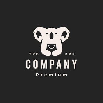 Koala shop shopping bag hipster vintage logo vector icon illustration