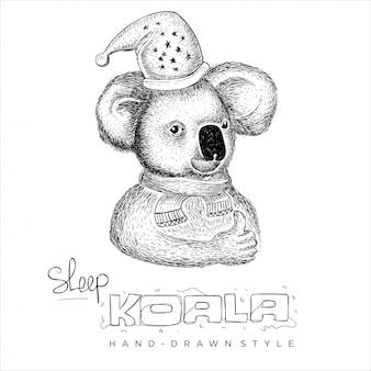 코알라 모자와 스카프를 착용. 손으로 그린 동물 그림