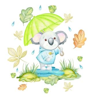 落ち葉と雨滴に囲まれた、傘を持ったコアラ。水彩画のコンセプト
