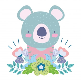 Koala with flowers leaves decoration cartoon cute animal characters nature