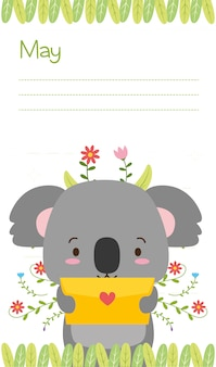 Koala with love card, cute animals, flat and cartoon style, illustration