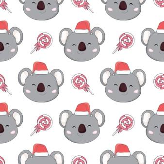 サンタ帽子のシームレスなパターンとコアラ