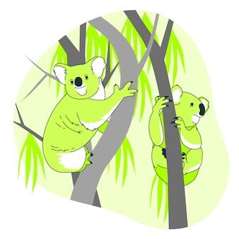 Koalas in trees concept illustration
