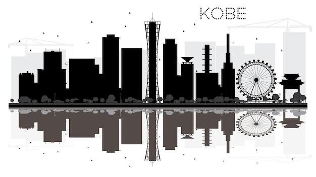 神戸市のスカイラインの黒と白のシルエットと反射。ベクトルイラスト。観光プレゼンテーション、バナー、プラカードまたはwebサイトのシンプルなフラットコンセプト。ランドマークのある街並み