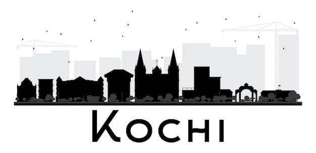 Kochi city skyline black and white silhouette. vector illustration. simple flat concept for tourism presentation, banner, placard or web site. cityscape with landmarks.