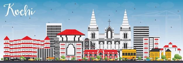 色とりどりの建物と青い空の高知スカイライン。ベクトルイラスト。歴史的な建築とビジネス旅行と観光の概念。プレゼンテーションバナープラカードとwebサイトの画像。