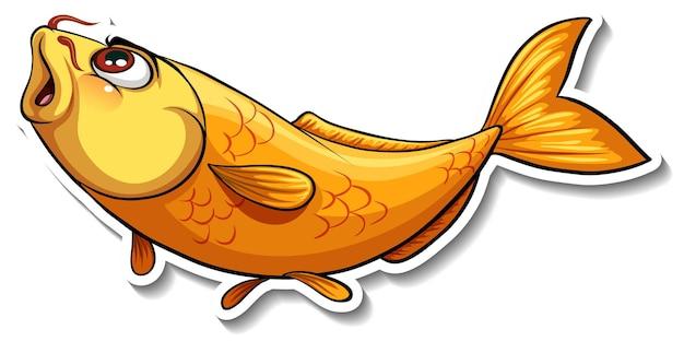 Adesivo cartone animato pesce carpa koi Vettore gratuito
