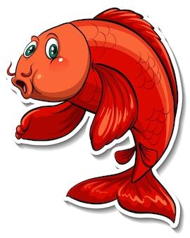 Koi carp fish cartoon sticker
