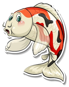 Кои карп рыба мультяшный стикер